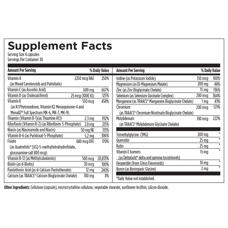 Multi Essentials+ Supplement Facts