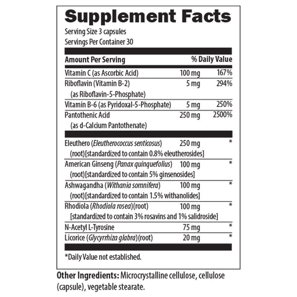 Adrenal Support Formula Nutrition Facts