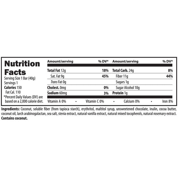 Coconut Bliss Bar Nutrition Facts