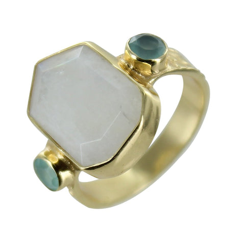 Anillo Piedra Hexagono Moonstone