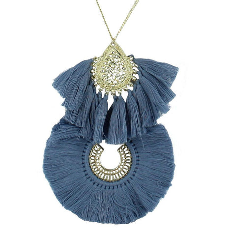 Collar Azul Doble Luna Borlas