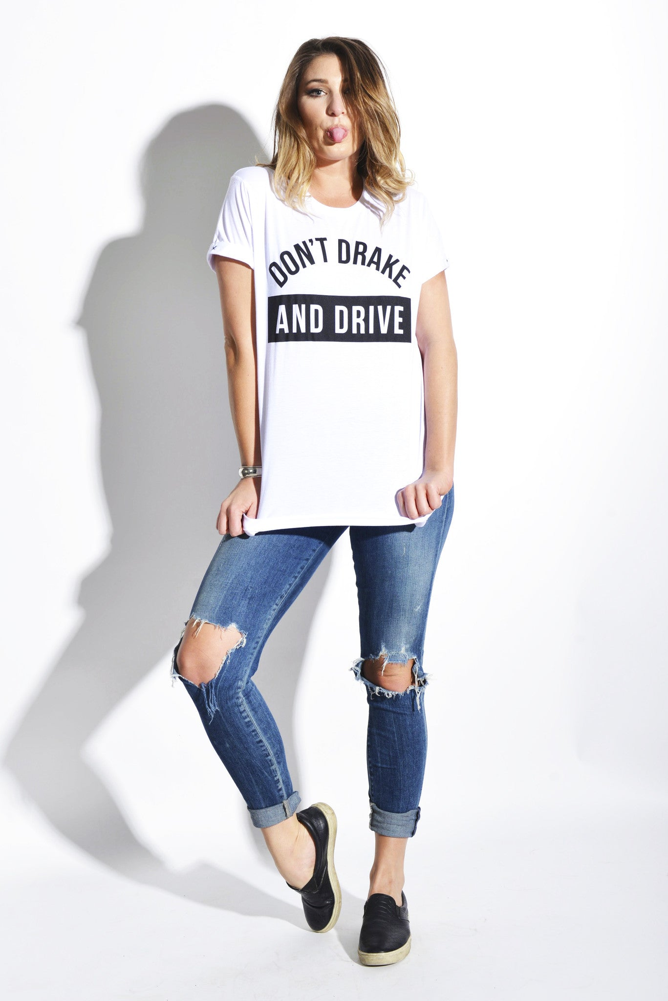 Don't Drake and Drive - White Unisex Tee