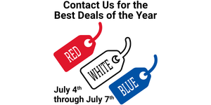 Red, White, & Blue Tag Sale - Distortion Brothers Guitar Shop