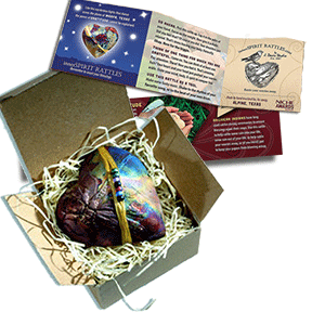 innerSpirit Rattles are gift boxed with a storycard