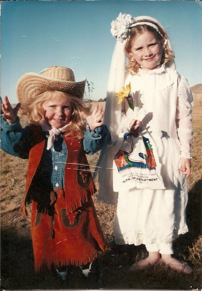 Hannah and Michaela - Alpine, TX - a Cowgirl and a Princess - Halloween 1995