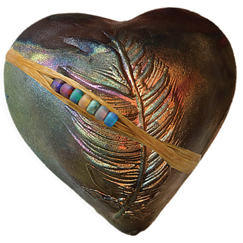 Dancing Feather Heart Raku innerSpirit Rattles by J. Davis Studio