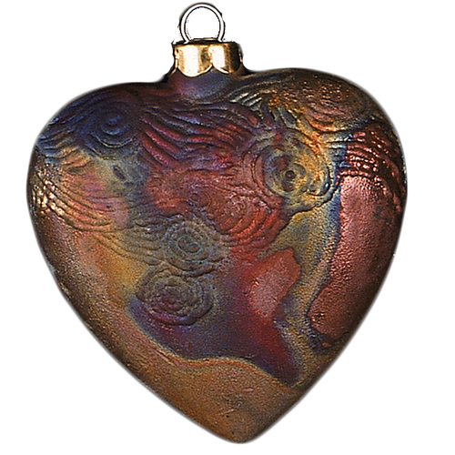 J. Davis Studio Raku Ornaments | Starry Night Heart Raku Pottery Ornament