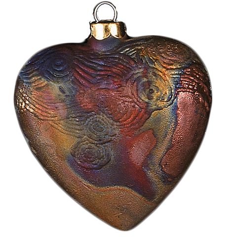 Raku Heart Starry Night Ornament