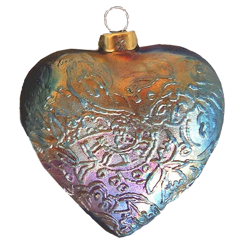 Tapestry Heart  Raku Ornaments