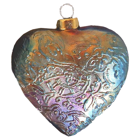 Heart Tapestry Raku Ornaments by J. Davis Studio