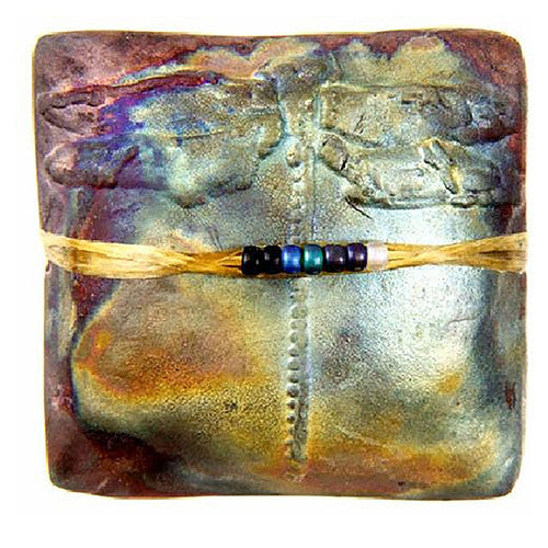 Dragonfly Raku Square  innerSpirit Rattle