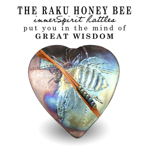 Honeybee Raku Heart innerSpirit Rattle