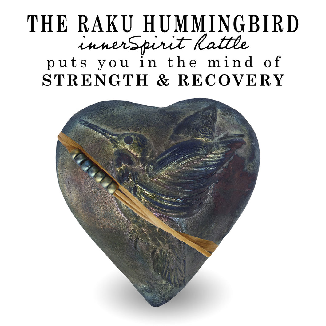 Hummingbird Whisperer Raku Heart innerSpirit Rattle