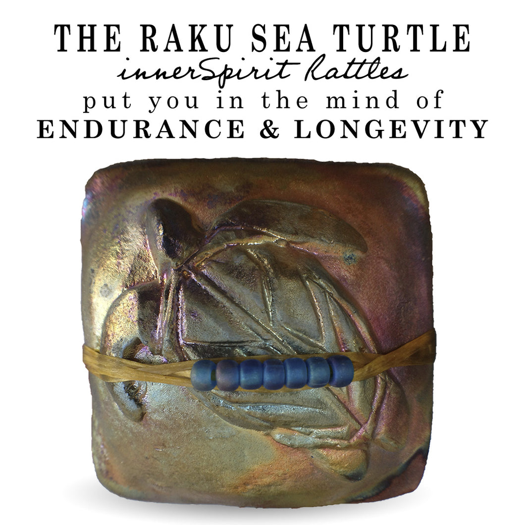 Sea Turtle Raku Square innerSpirit Rattle