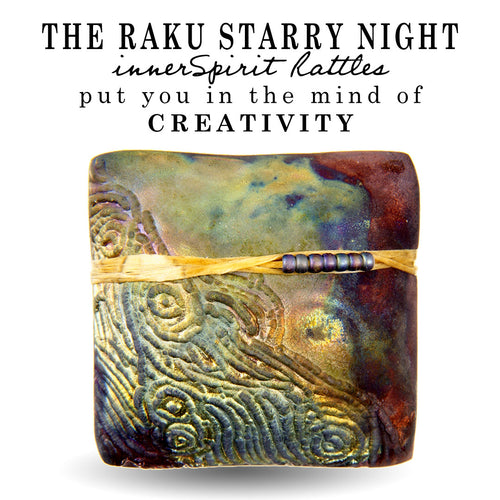 Starry Night Raku Square innerSpirit Rattle