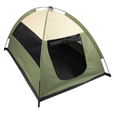 Cozy Camp Pet Tent House - Sage Green with Beige - Happy Paws Pet Shop - 1