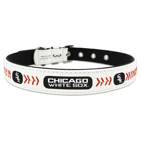 Chicago White Sox Leather MLB Licensed Dog Collar - Happy Paws Pet Shop