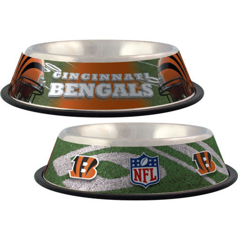 Cincinnati Bengals Stainless Steel NFL Licensed Dog Bowl - Happy Paws Pet Shop