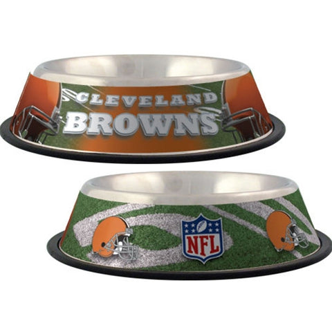 Cleveland Browns Stainless Steel NFL Licensed Dog Bowl - Happy Paws Pet Shop