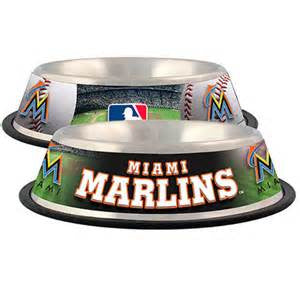 Miami Marlins Stainless Steel MLB Dog Bowl - Happy Paws Pet Shop