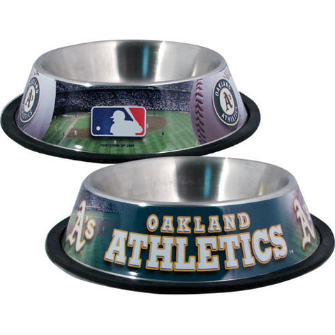 Oakland Athletics Stainless Steel MLB Dog Bowl - Happy Paws Pet Shop