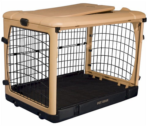Deluxe Collapsible Steel Dog Crate With Bolster Pad - Tan - Happy Paws Pet Shop - 1