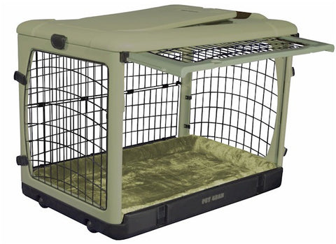 Deluxe Collapsible Sage Green Steel Dog Crate with Bolster Pad - Happy Paws Pet Shop - 1