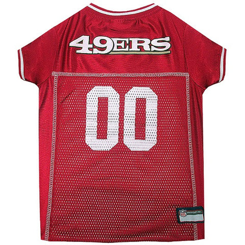 San Francisco 49ers NFL Dog Jersey - White Trim - Happy Paws Pet Shop - 1