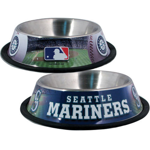 Seattle Mariners Stainless Steel MLB Dog Bowl - Happy Paws Pet Shop