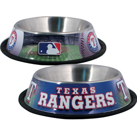 Texas Rangers Stainless Steel MLB Dog Bowl - Happy Paws Pet Shop