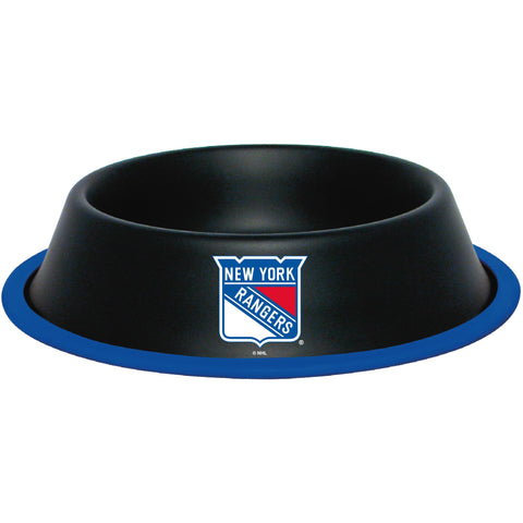 NY New York Rangers Stainless Steel NHL Dog Bowl - Happy Paws Pet Shop