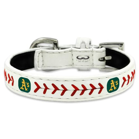 Oakland A's Leather MLB Licensed Dog Collar - Happy Paws Pet Shop - 1
