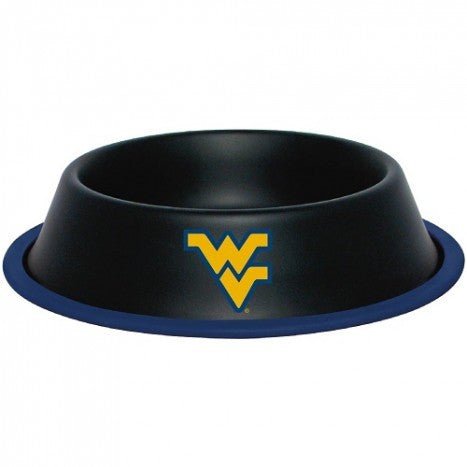 West Virginia Mountaineers Stainless Steel NCAA Dog Bowl - Happy Paws Pet Shop