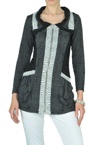 Unqiue Black, White and Grey Mosaic Jacket