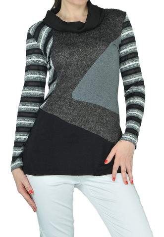 Asymmetric Stripe Block Sweater