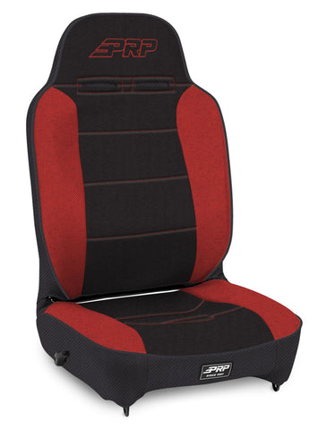 Enduro High Back Reclining Suspension Seat, Passenger Side; Black and Red - 201, 210, 50 57; PRP Red Out