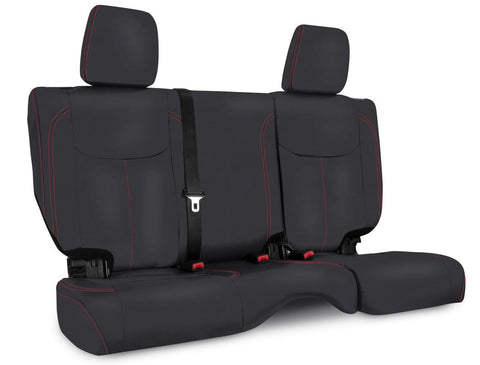 Rear Seat Cover for '13–'18 Jeep Wrangler JK, 2 door - Black with Red Stitching