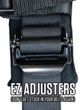 "5.3 Harness - 5 point harness, 3"" belts; padded HANS; lap belt: Ratcheting, pull-up, EZ adjusters, clip-in"