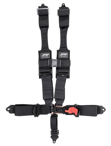 "5.3 Harness - 5 point harness, 3"" belts; padded HANS; lap belt: clip-in, EZ adjusters"