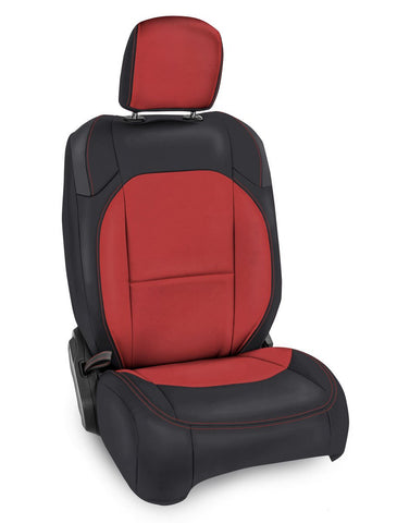 Front Seat Covers for Jeep Wrangler JLU, 4 door; Jeep Gladiator JT; non-Rubicon (Pair) - Black and red