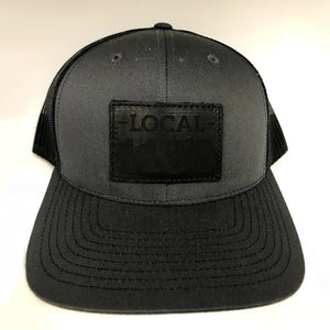 Leather Patch Snap Back (Black/Charcoal)