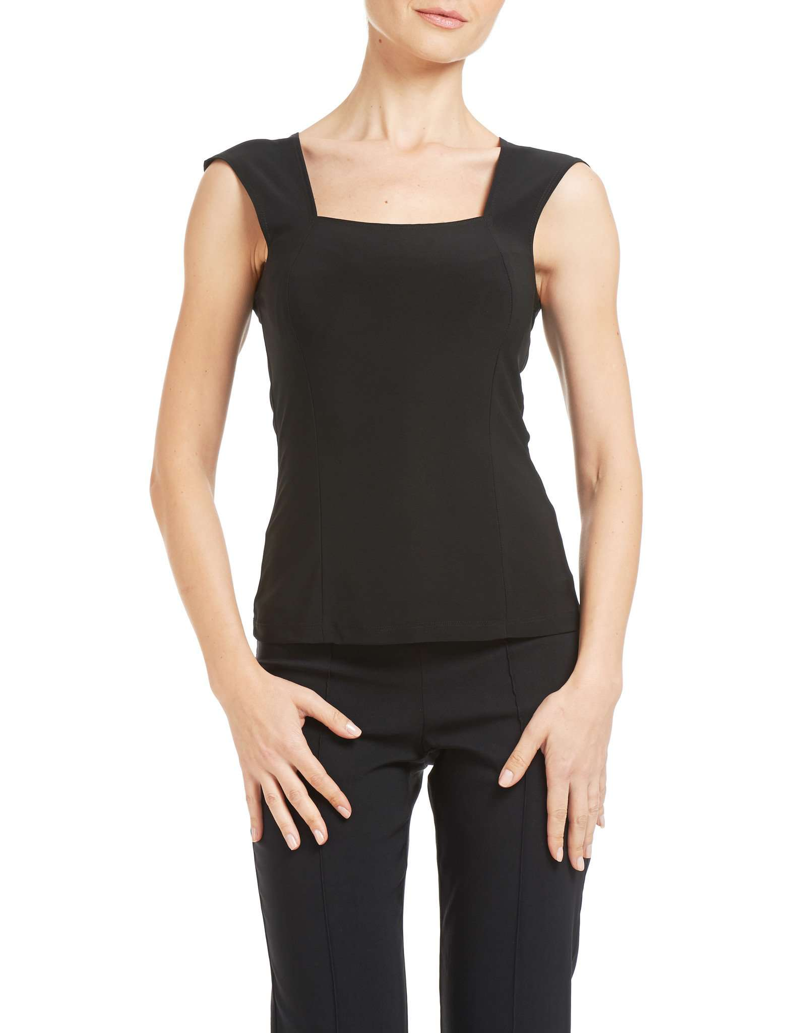 Black Camisole with Square Neckline Essential Wardrobe Top - Yvonne Marie