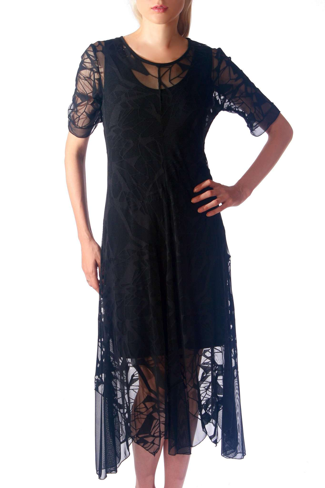 Black Lace Dress Elegant for Wedding 2 Pc Set