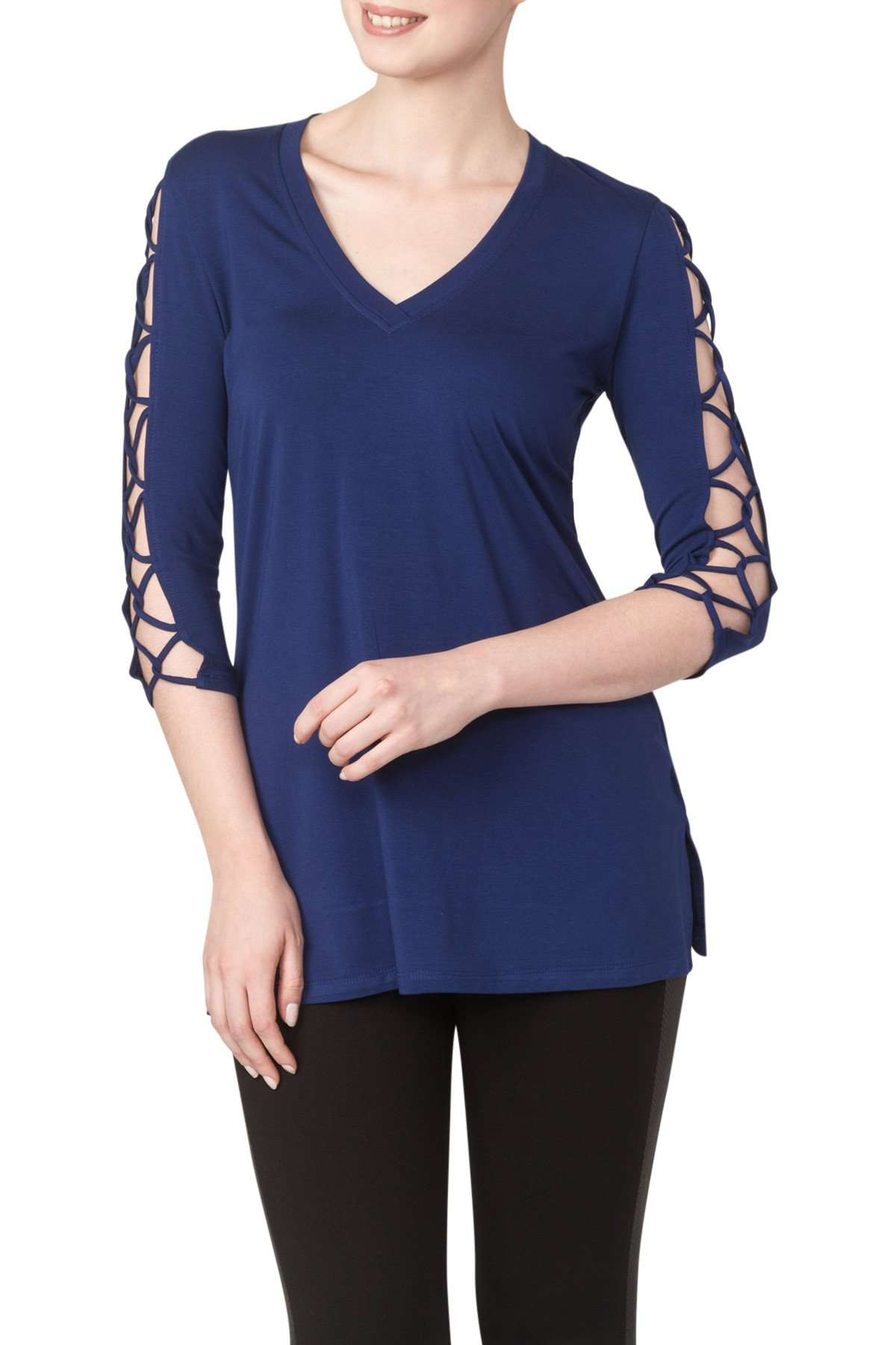 Royal Blue Long Tunic Top With Sleeve Detail-Butter soft Fabric-Top Quality - Yvonne Marie