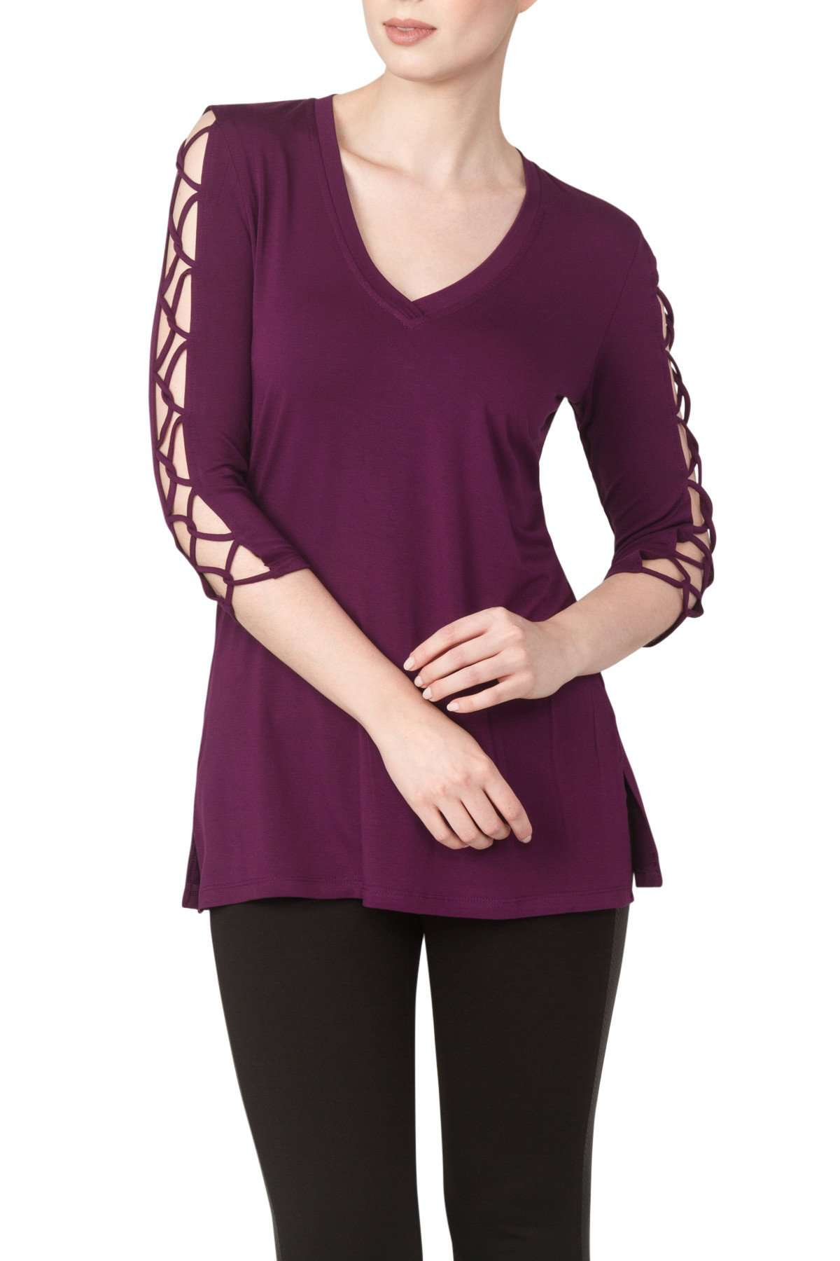 Purple Top Sexy Sleeves Soft Knit Fabric made in Canada - Yvonne Marie