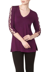 Long Sleeve Top Deep Plum Colour Simply Beautiful, Comfortable and Exclusive to Yvonne Marie Clients-Enjoy the Savings - Yvonne Marie