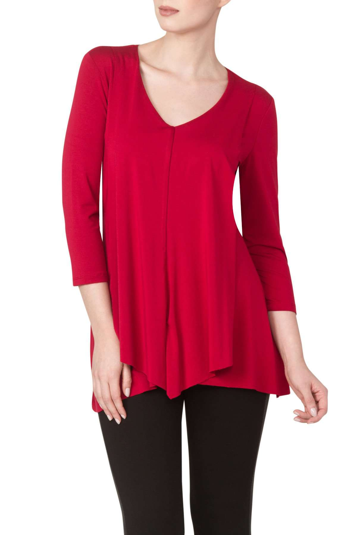 Women's Red Flattering Flyaway Tunic - Made in Canada - Yvonne Marie - Yvonne Marie