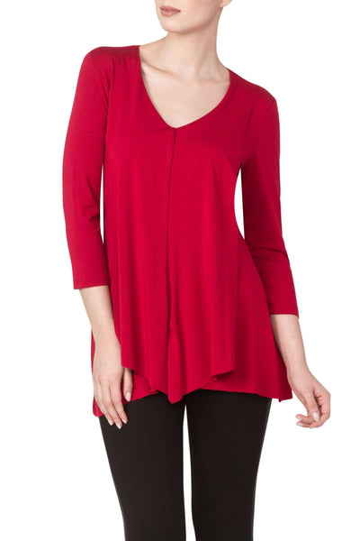 Red Top Longer Length Draped Flattering Front Detail