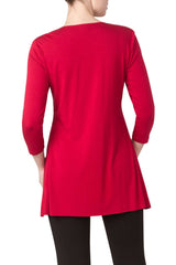 Red Tunic Top Features Slimming Design Quality Fabric-Proudly Made in Canada - Yvonne Marie