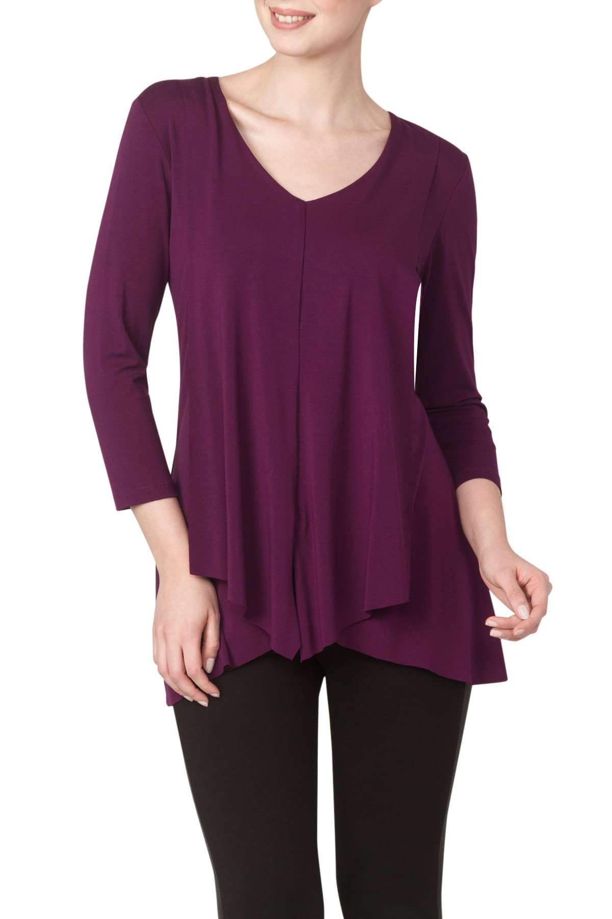 Burgundy Wine Longer Length Top with Draped Front Detail - Yvonne Marie